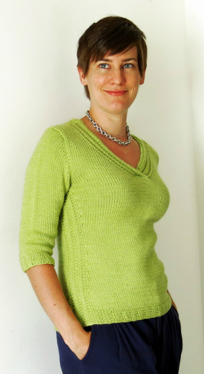 Annalise Pullover knitting pattern by Cassie Castillo.  Sweater with 3/4 sleeves and pocket.