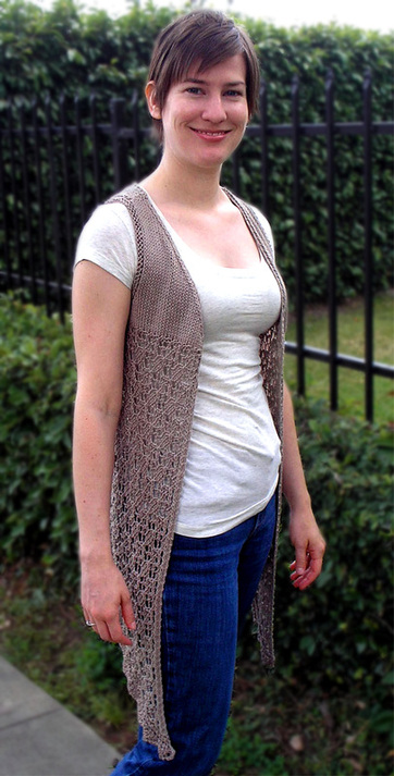Aster Vest knitting pattern by Cassie Castillo.  Lace vest with drape front.