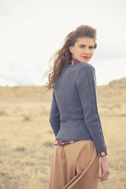 Rosemary Cardigan knitting pattern by Cassie Castillo.  V-neck sweater with cables and pockets.