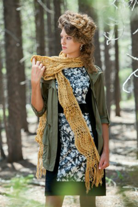 Hoptree Scarf knitting pattern by Cassie Castillo.  Feather and fan stitch scarf worked sideways.