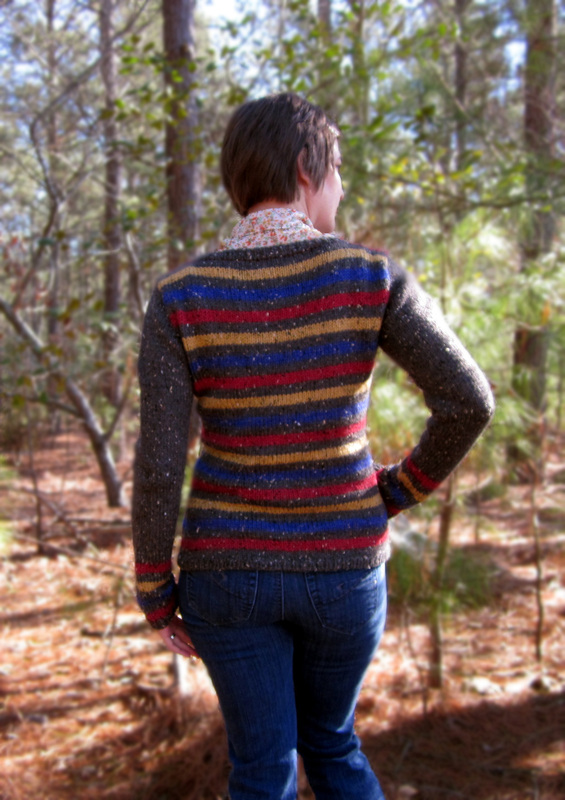 Wessex Cardigan knitting pattern by Cassie Castillo.  Striped v-neck sweater with solid sleeves.