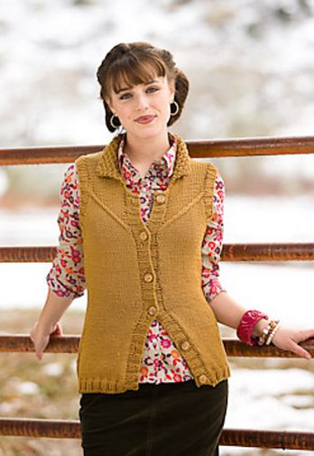 Loretto Vest by Cassie Castillo.  Collared vest with cabled yoke.