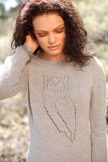 Nocturnal Pullover knitting pattern by Cassie Castillo.  Boatneck sweater with owl lace motif.