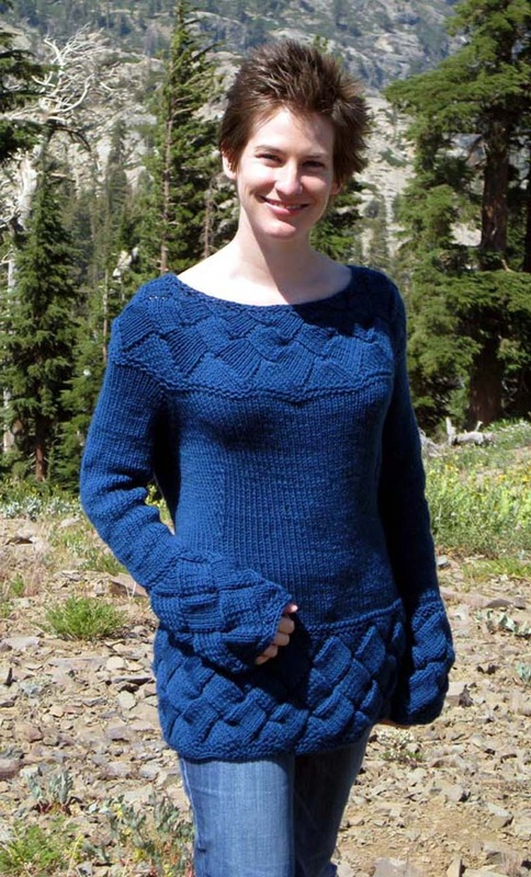 Valhalla knitting pattern by Cassie Castillo.  Pullover sweater with entrelac.