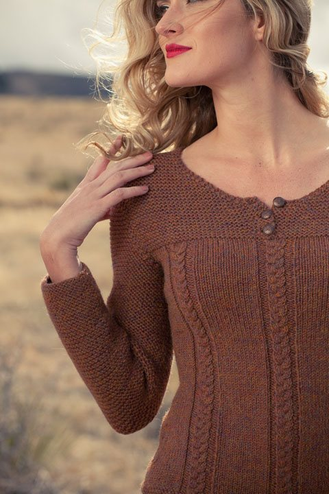 Alison Pullover knitting pattern by Cassie Castillo.  Henley sweater with 3/4 sleeves and cables.